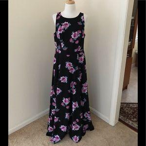 Torrid size 10, M/L black floral long maxi dress .